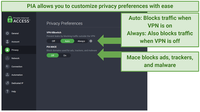 Private Internet Access app customization options, including Mace and a kill switch