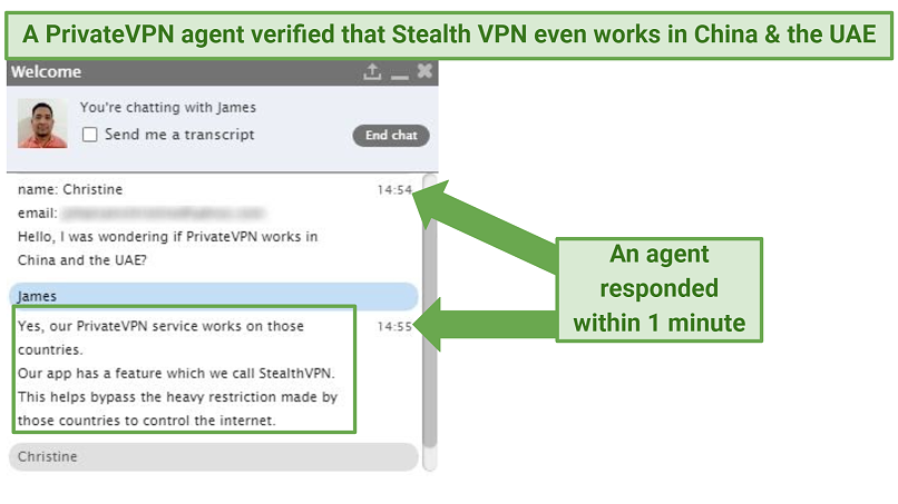 Screenshot of a live chat with a PrivateVPN agent, confirming that the VPN works in China and the UAE.