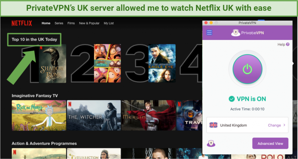 Screenshot showing Netflix UK being accessed while connected to PrivateVPN in the UK