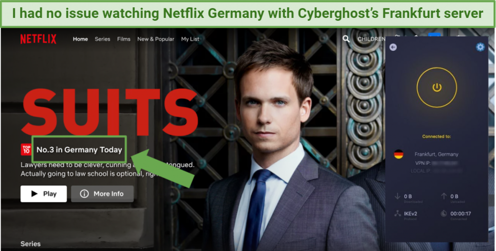 Screenshot showing Netflix Germany being accessed while connected to Cyberghost's Frankfurt server