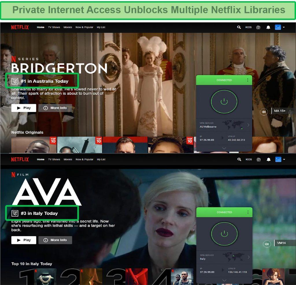 screenshot of Private Internet Access unblocking Netflix Australia and UK