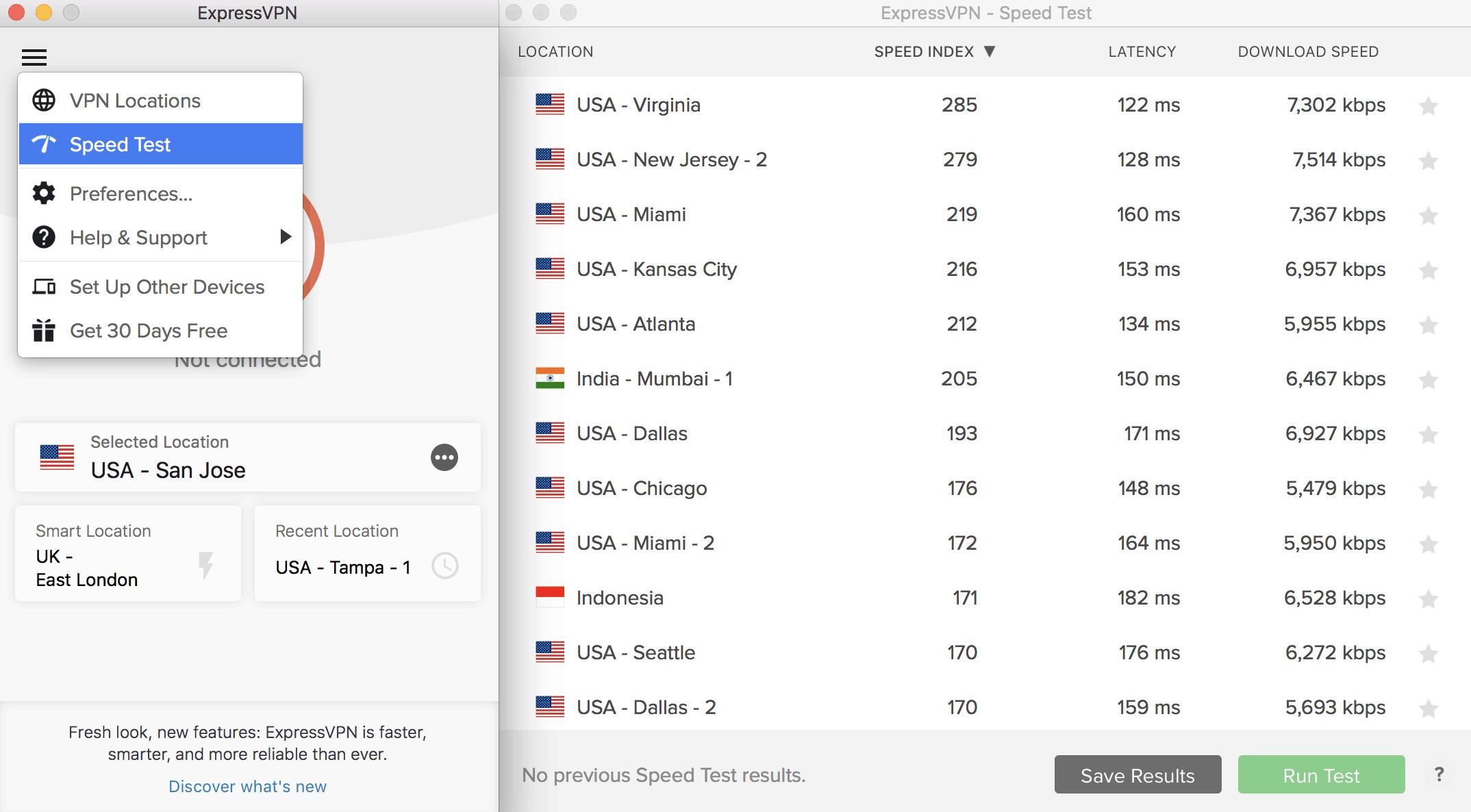 ExpressVPN server selection