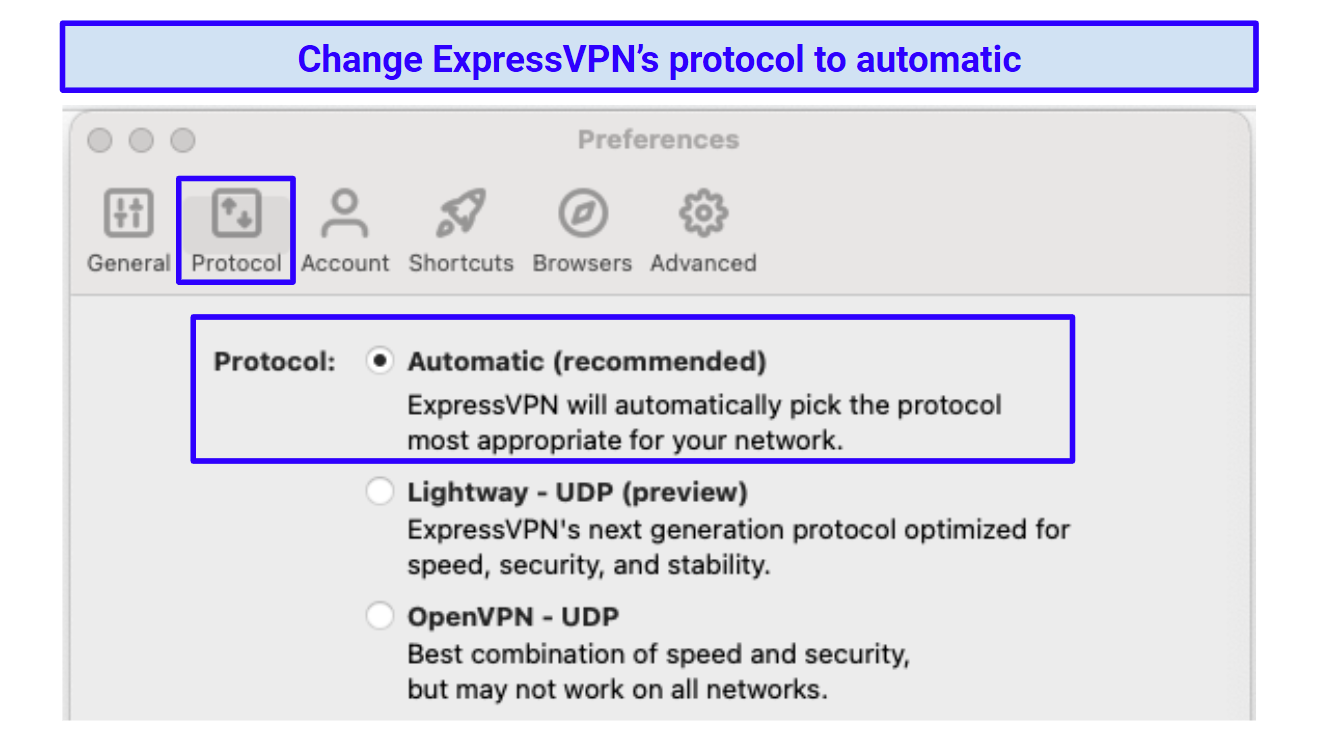 Screenshot of ExpressVPN's automatic protocol settings