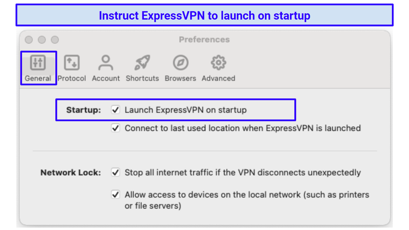 Screenshot of ExpressVPN's launch on startup settings