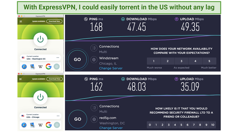Screenshot of speedtest using ExpressVPN
