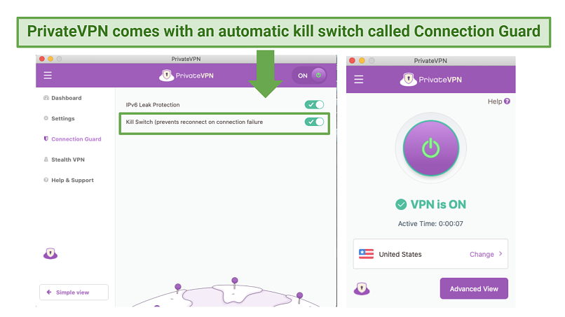 Screenshot of PrivateVPN's Connection Guard feature
