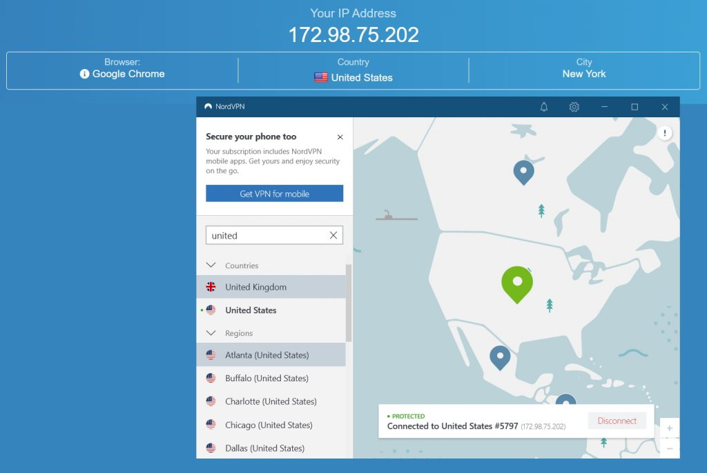 My IP address with NordVPN connected to a server in the US