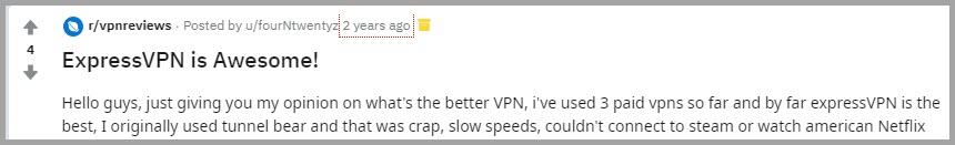 ExpressVPN user review 1
