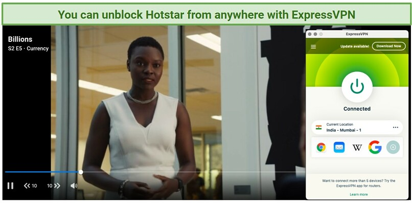 Graphic showing ExpressVPN streaming Hotstar on an Indian server