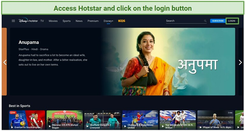 Graphic showing how to log in to Disney+ Hotstar India
