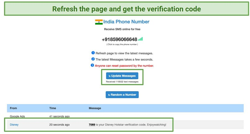 Graphic showing how to refresh the log in page to get a verification code and sign in to Hotstar India