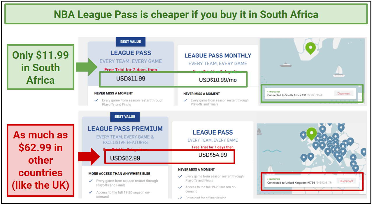 Graphic comparing the price of League Pass in the UK and South Africa