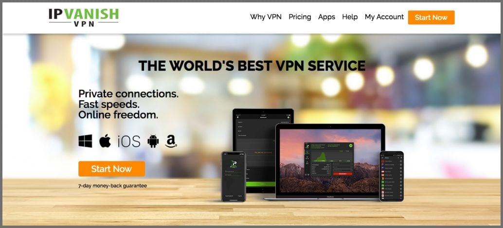 screenshot of IPVanish's homepage