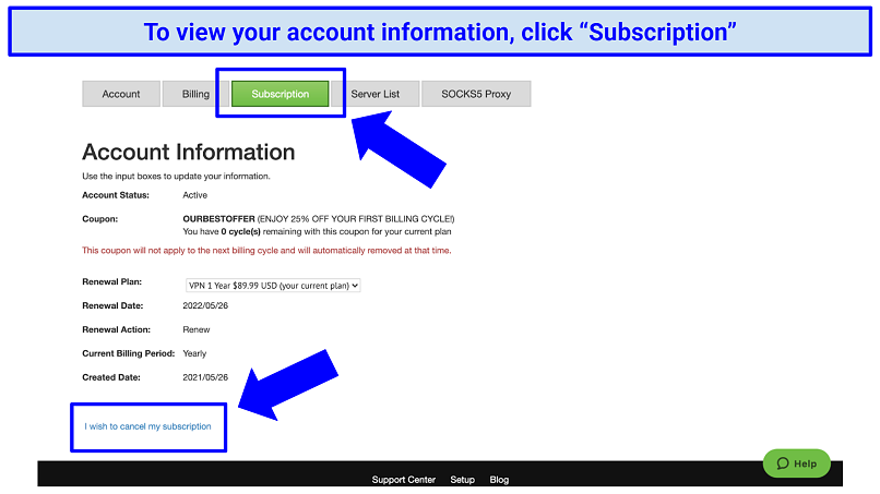 The customer account information page on IPVanish's account, indicating where to click to view and cancel a subscription