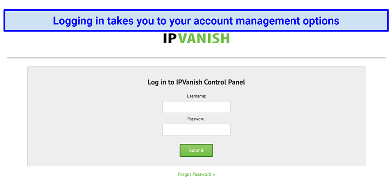 The login form on IPVanish's website, prompting for the customer's username and password, followed by a green submit button
