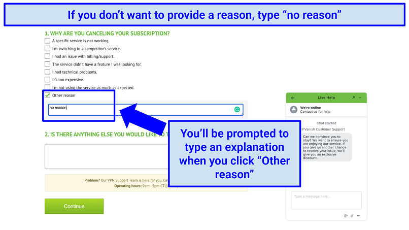 Canceling an IPVanish account on its website with a prompt to provide a reason for canceling —the words
