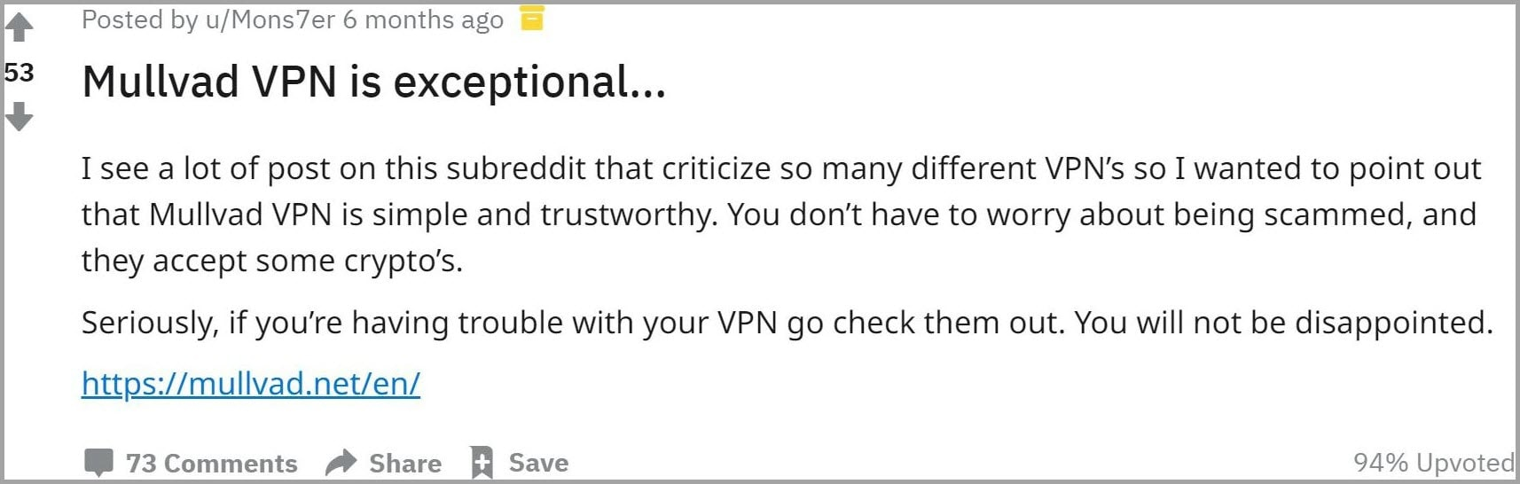 Mullvad VPN user review 1
