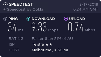 Speed test performed before connecting to NetflixVPN.