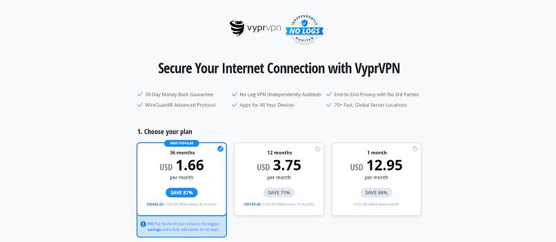 A screenshot of VyprVPN's plan options on its website.