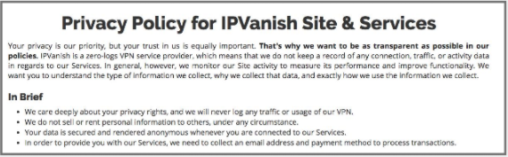 ipvanish privacy policy