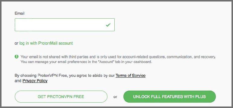 ProtonVPN email form