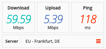 Speed test on a UFO VPN in Europe.
