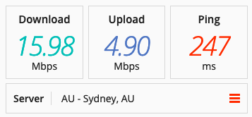 Speed test on a UFO VPN in Australia.