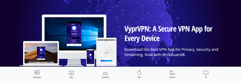A screenshot showing all available device apps for VyprVPN.