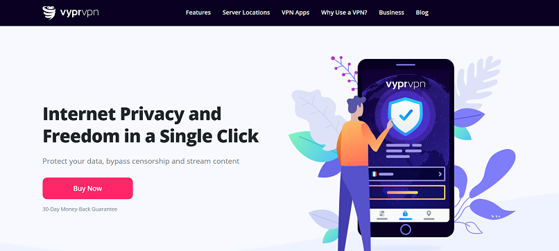 A screenshot of VyprVPN's homepage