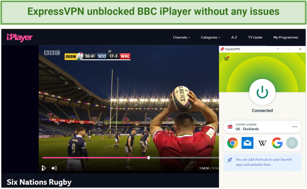 Screenshot showing BBC iPlayer streaming Six Nations Rugby after connecting to an ExpressVPN server in the UK