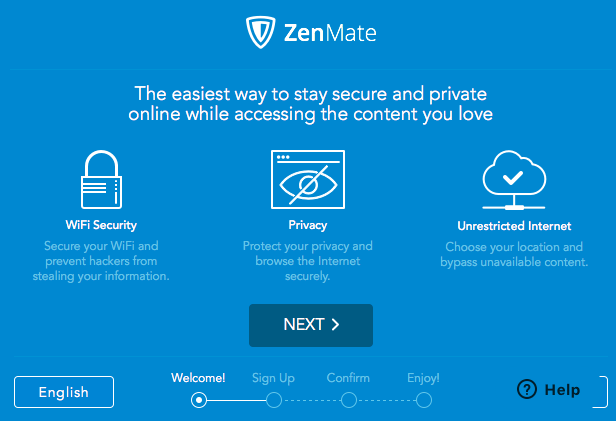 screenshot of the ZenMate welcome page