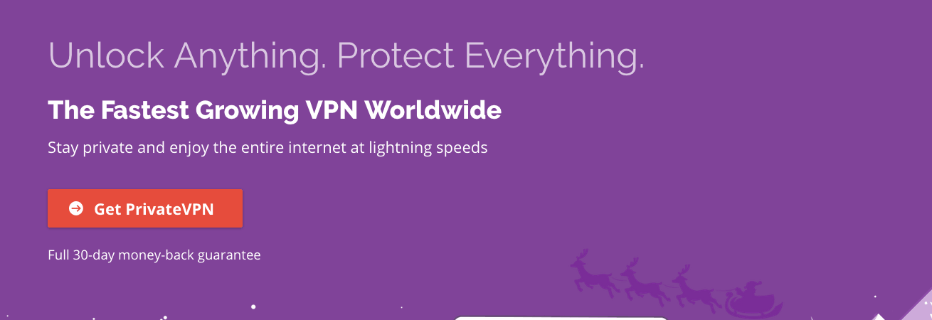PrivateVPN's homepage