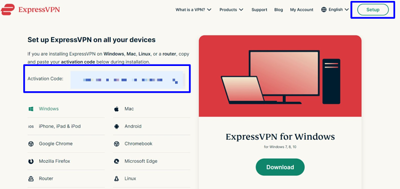 Screenshot showing where to find activation code on ExpressVPN website