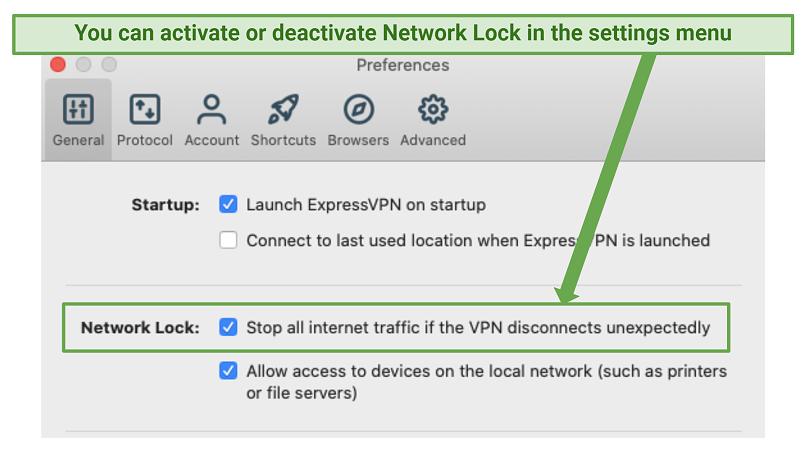 Screenshot of ExpressVPNs 'network lock' feature