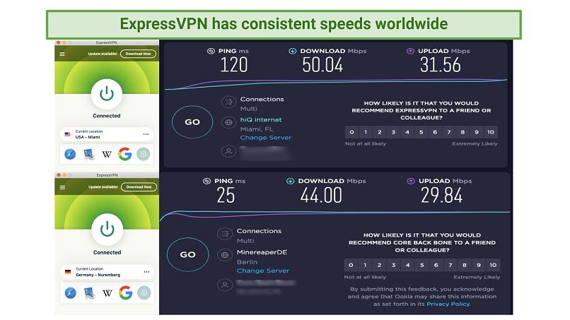 Screenshot of ExpressVPNs speeds during speed tests.