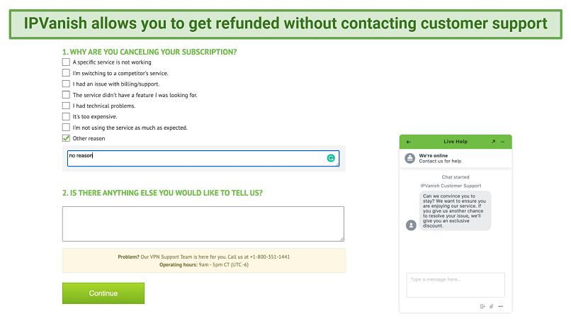 Screenshot of IPVanish's cancellation form