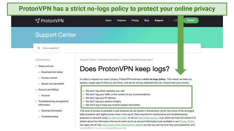 Screenshot of ProtonVPNs logging policy