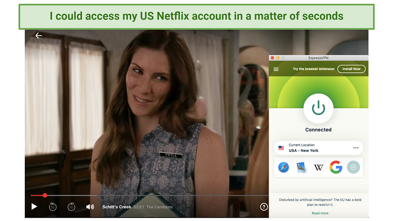 Screenshot of ExpressVPN unblocking US Netflix