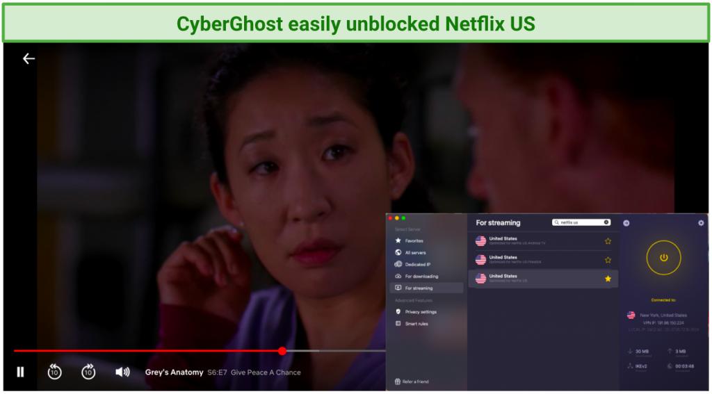 screenshot of Netflix player streaming Grey's Anatomy using GyberGhost