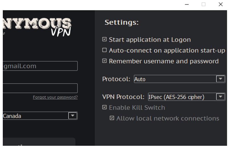 A screenshot from the Anonymous VPN app