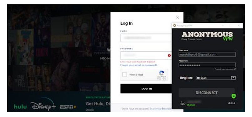 A screenshot of my attempt to log into Hulu with Anonymous VPN