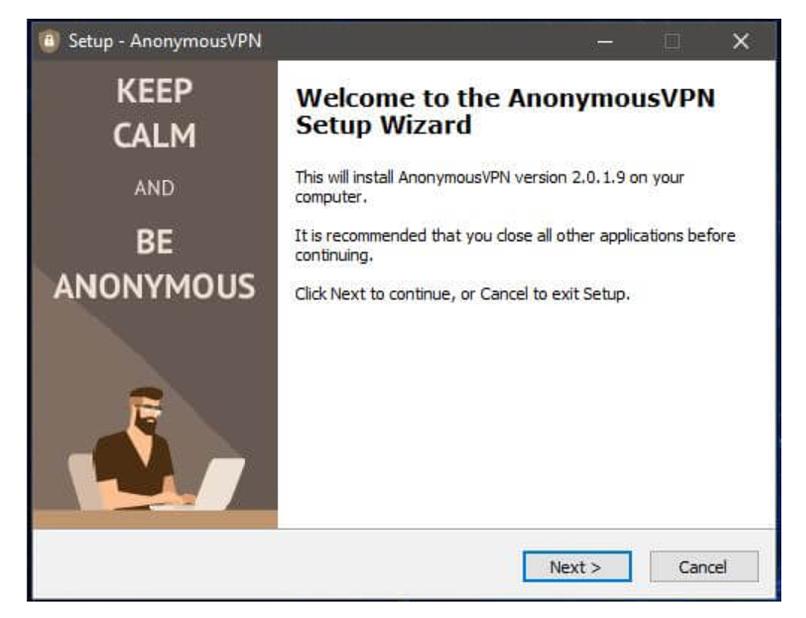A screenshot of the Anonymous VPN installer