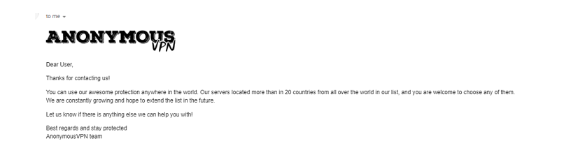 A screenshot of an email from Anonymous VPN