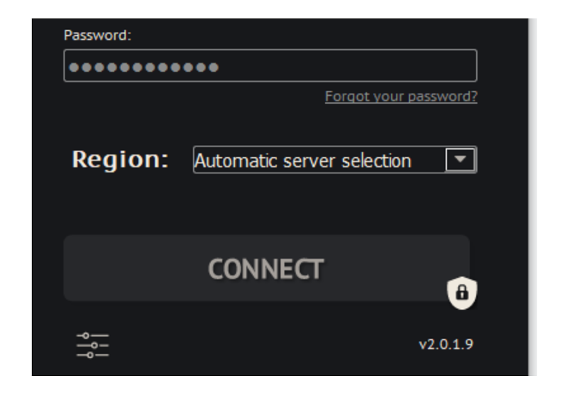 A screenshot of the server selection page