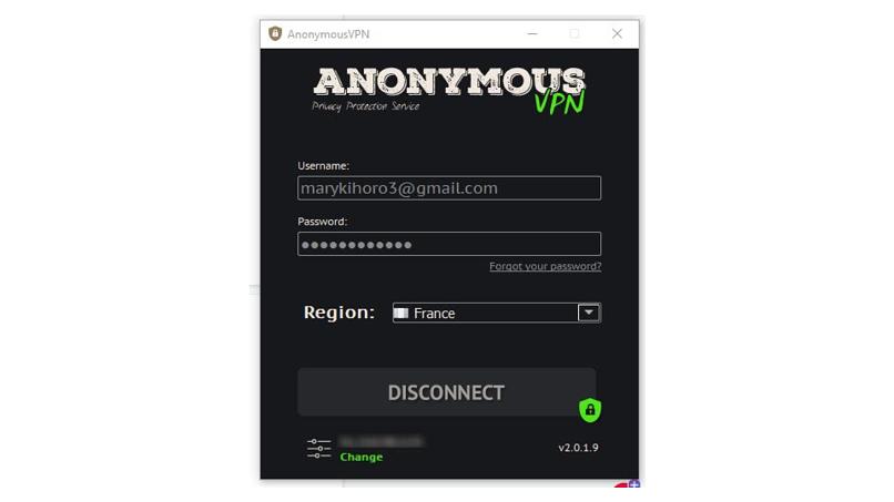 The Anonymous VPN Windows app
