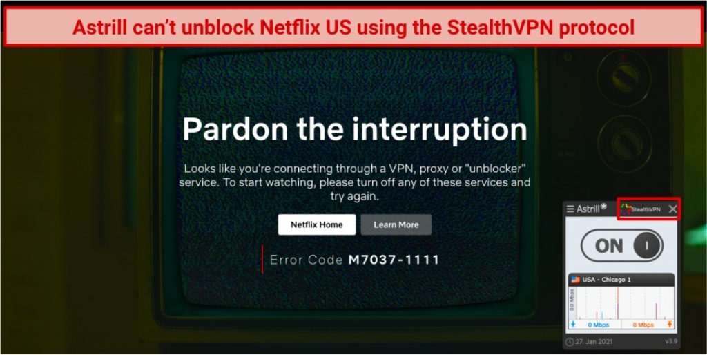 screenshot of Netflix player blocked while connected to AstrillVPN