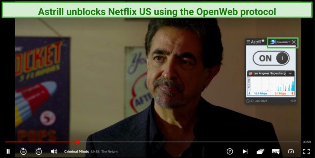 A screenshot of Astrill VPN unblocking Netflix.