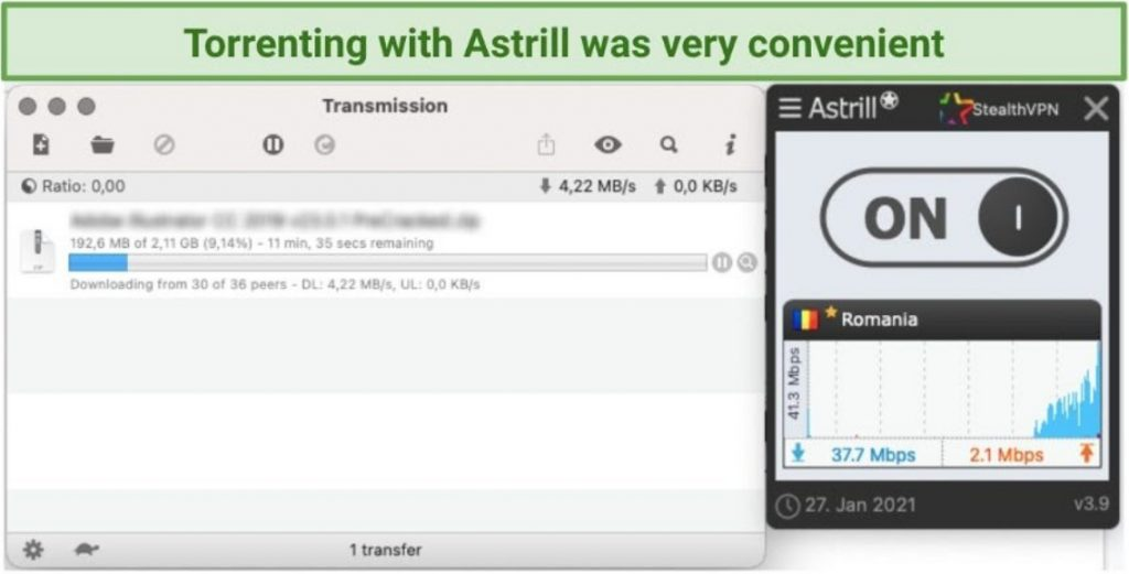 A screenshot of Astrill being used for torrenting.