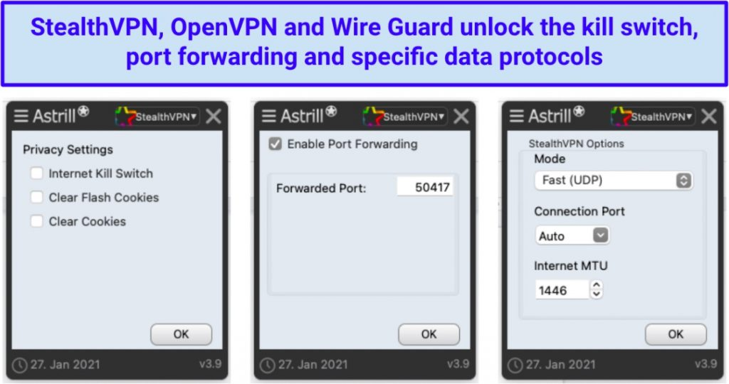 A screenshot of the Astrill VPN app showing its security settings.