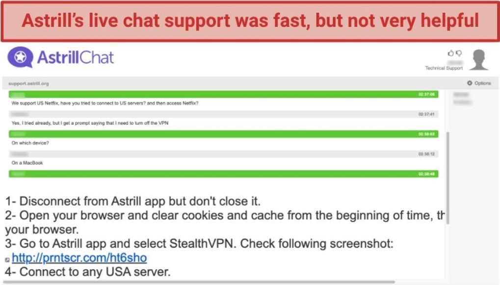 A screenshot of a conversation with Astrill VPN's live chat.